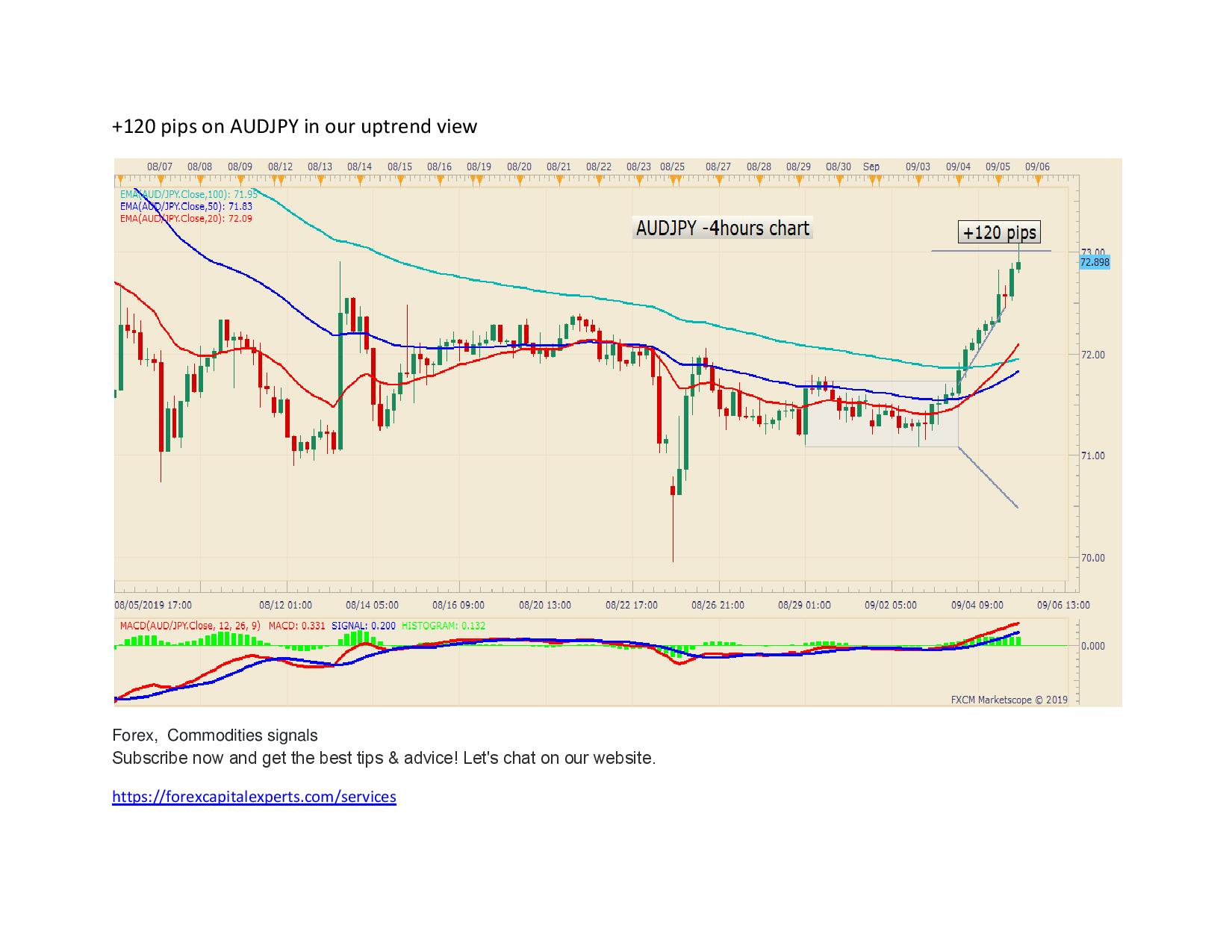 120 pips on AUDJPY in our uptrend view page 001